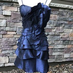 BCBGeneration Navy blue shutter pleat prom dress